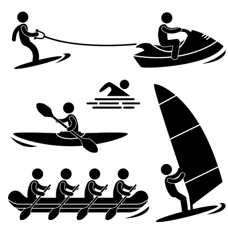 Water Sea Sport Skurfing Rowing Windsurfing Rafting Vector