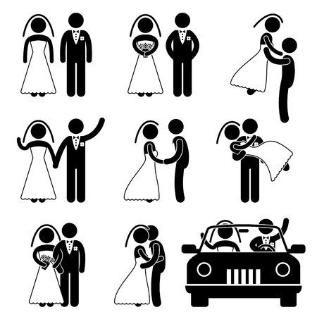Wedding Bride Bridegroom Married Marry Marriage Illustration