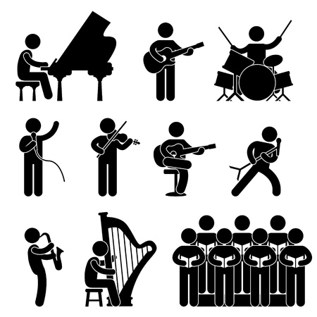 Musician Pianist Guitarist Choir Drummer Singer Concert Vector