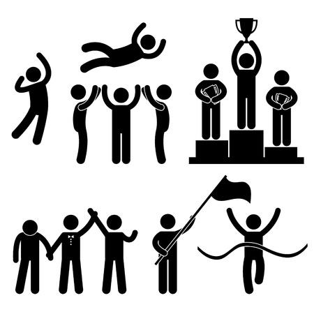 verlies: Win Winnaar Verliezer Glory Celebration kampioen Succes Victory