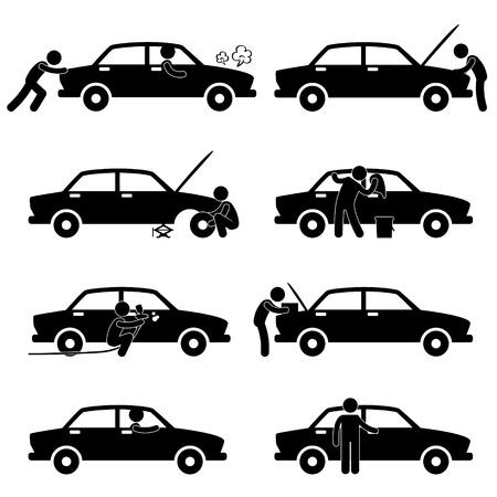 pictogramme: Fixation v�rifiant lavage r�parer la voiture de peinture changeant de Tyr