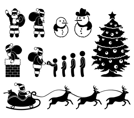 Christmas Santa Claus Snowman Winter Chimney Reindeer Vector