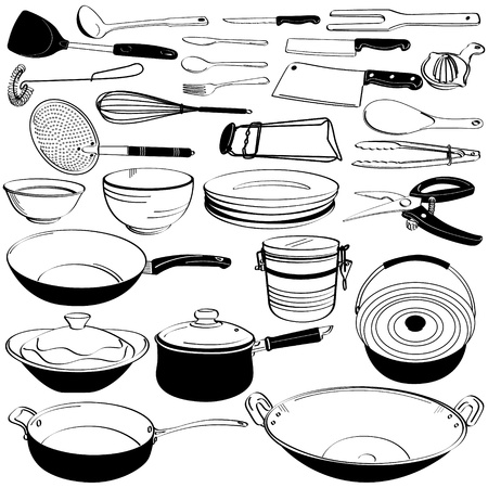 utensils: Kitchen Tool Utensil Equipment Doodle Drawing Sketch