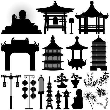 Chinese Asian Temple Shrine Relic Vector