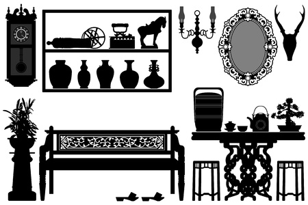 Old Antique Traditional Furniture Design Decoration Vector