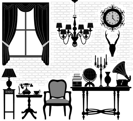 Old Grandfather Room Antique Retro Living Hall Furniture Vector