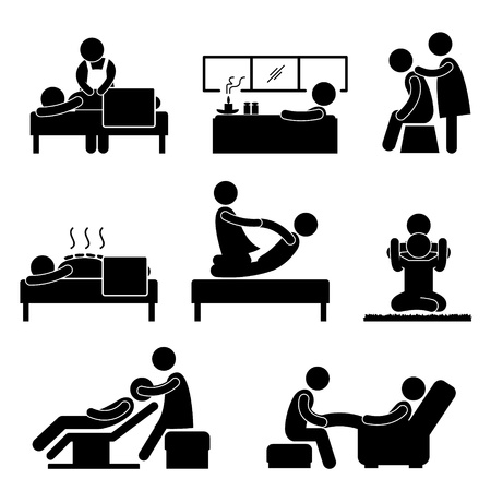 spa therapy: Massage Spa Therapy Wellness Aromatherapy Icon Sign Pictogram Illustration