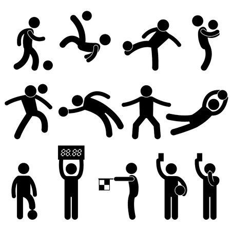 football kick: Football Soccer Goalkeeper Referee Linesman Icon Symbol Sign Pictogram