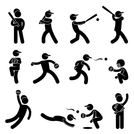 stick man: Baseball Softball Swing Pitcher Champion Icon Symbol Sign Pictogram