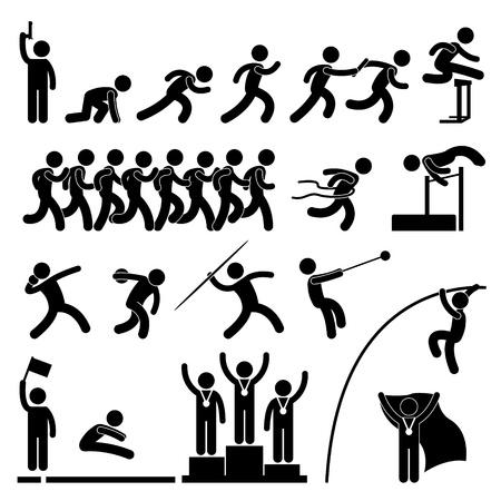 bonhomme allumette: Terrain de sport et de jeu de piste d'athl�tisme de l'�v�nement C�l�bration Vainqueur ic�ne du signe pictogramme symbole Illustration
