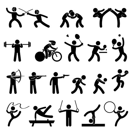 boxing sport: Indoor Sport Game Athletic Set Icon Symbol Sign Pictogram