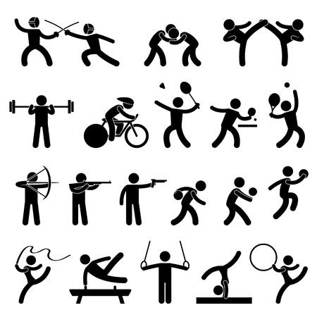esgrima: Juego de interior deporte atl�tico Icon Set S�mbolo sesi�n Pictograma Vectores
