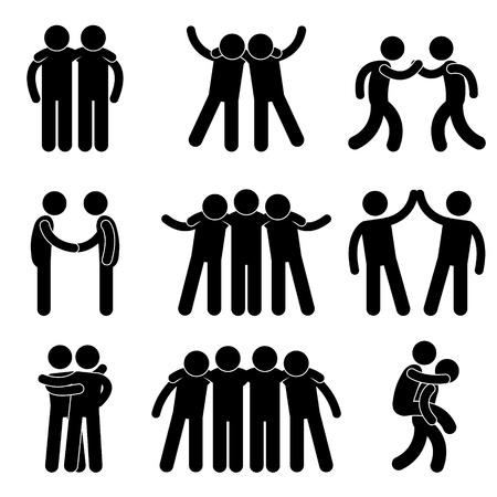 bonhomme allumette: Amiti� ami co�quipier Teamwork Soci�t� Ic�ne Symbole Pictogramme Inscription