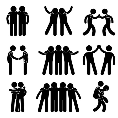 friends happy: Friend Friendship Relationship Teammate Teamwork Society Icon Sign Symbol Pictogram