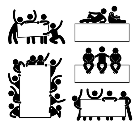 Friend Community Teammate Holding Showing Empty Blank Banner Icon Symbol Sign Pictogram Vector