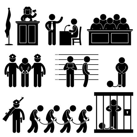 delito: Juez del Tribunal de Derecho Cárcel Cárcel Abogado Jurado Penal Icono Símbolo Pictograma sesión