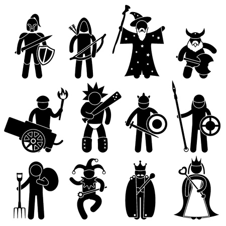 archer cartoon: Ancient Warrior Character for Good Alliance Icon Symbol Sign Pictogram