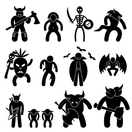 Ancient Warrior Character for Evil League Icon Symbol Sign Pictogram Vector