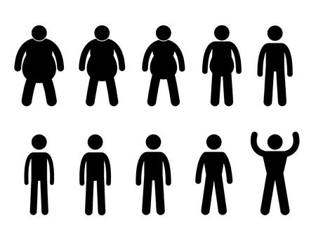bonhomme allumette: Fat aux processus l�gers et minces pictogramme Ic�ne Concept musculaire signe symbole