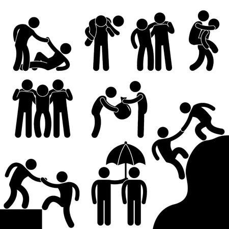 strichmännchen: Business-Freund einander helfen Icon Symbol-Zeichen Piktogramm Illustration