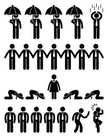 Business Finance Situation Concept in Office Workplace Icon Pictogram Illustration