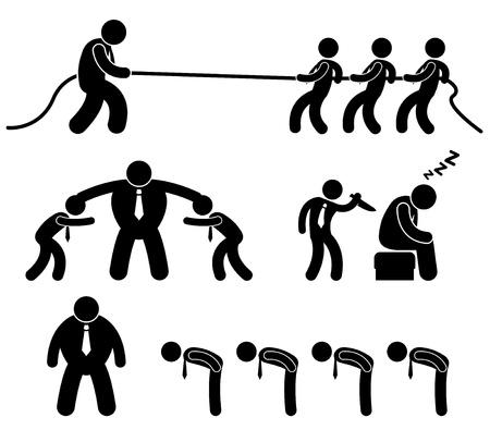 tug: Affari Worker Situazione dei dipendenti in Pittogramma Icon sul posto di lavoro di Office Vettoriali