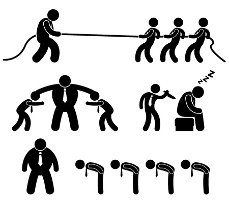 tug: Business Employee Worker Situation in Office Workplace Icon Pictogram Illustration