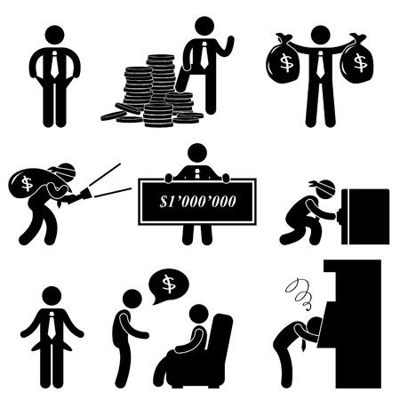 strichmännchen: Reichen arm Erfolg Fehler Verzweifelte Geschäftsmann Icon Symbol-Zeichen Piktogramm