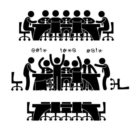 Discusión de negocios reunión Brainstorm Oficina de Trabajo Situación Escenario Concepto Pictograma Ilustración de vector