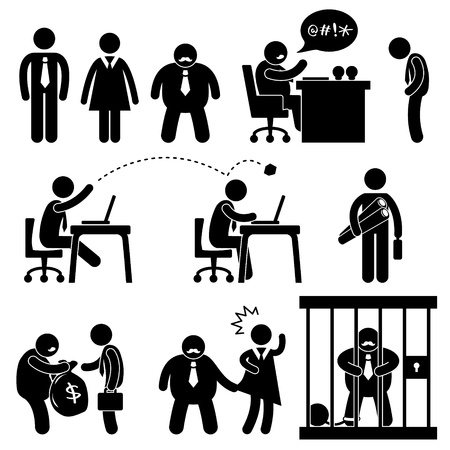 acoso laboral: Oficina de Negocios el lugar de trabajo Situación jefe Icon Manager símbolo de la muestra Pictograma Concepto