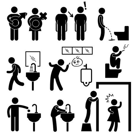 hombre fumando: Divertido Concepto Baño Público icono símbolo de la muestra Pictograma Vectores