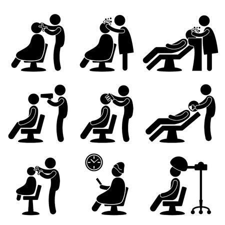 WÅ'osy fryzjer salon fryzjerski Ikona Symbol Piktogram Zaloguj siÄ™ Ilustracje wektorowe
