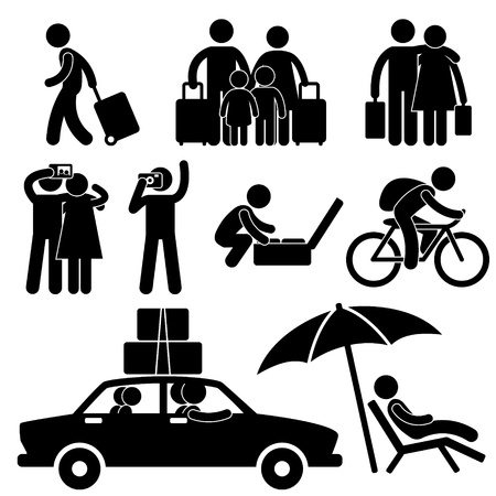 packing suitcase: Famiglia Coppia turistiche viaggio vacanza vacanze viaggio luna di miele icona simbolo Pittogramma Segno Vettoriali