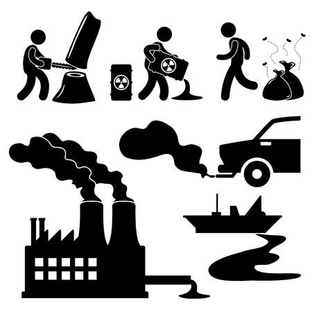 contaminacion ambiental: Contaminación del calentamiento global ilegal destrucción de Concepto Verde Medio Ambiente Icono Símbolo Pictograma sesión Vectores