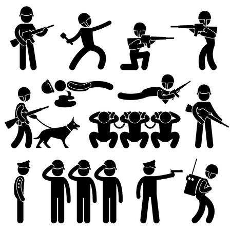 silhouette soldat: Militaire de patrouille Dog Soldier prisonnier de guerre générale Icône Connexion pictogramme symbole Illustration