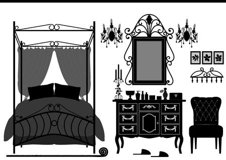 Royal Bedroom Room Old Antique Victorian Furniture Vector