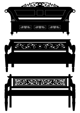 antique asian: Asian Antique Chair Bench Furniture in Silhouette