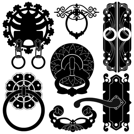 Old Antique Ancient Door Lock Handle in silhouette Vector