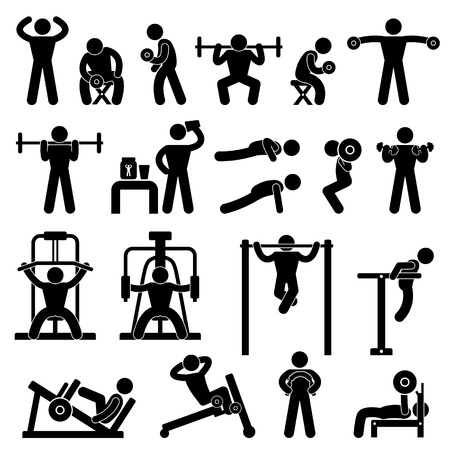 gym equipment: Palestra Palestra Body Building Exercise Fitness Training Workout Vettoriali