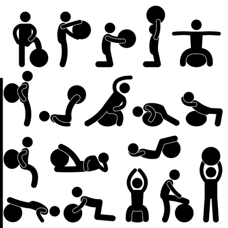 workout gym: Man People Gym Fitness Ball Training Exercise Workout Illustration