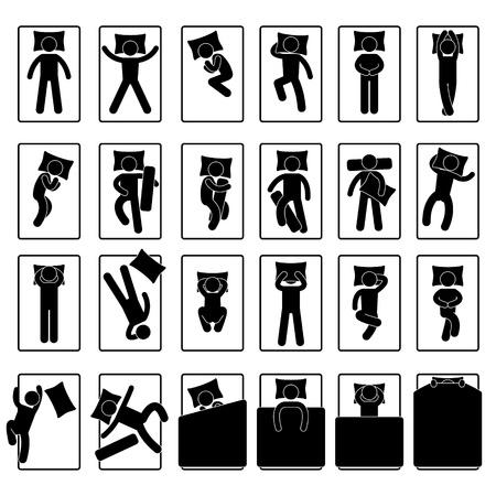Slaap Slapen Positie Style houding Methode Bed Vector Illustratie