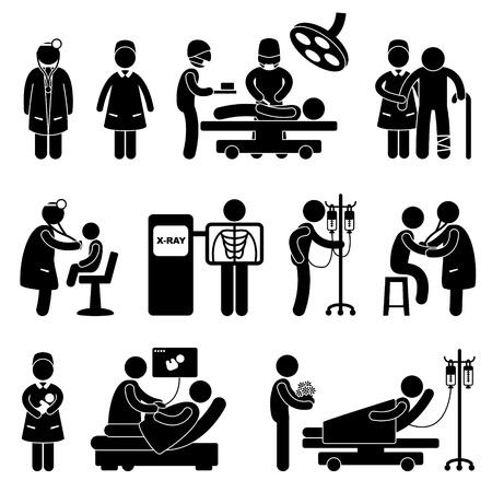 Dokter Verpleegkundige Hospital Clinic medische ingreep de patiënt Vector Illustratie