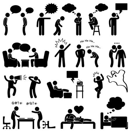 negotiations: Las personas que hablan del hombre de conversaci�n Pensamiento pensamiento risue�o Whispering Bromas Screaming Charlar