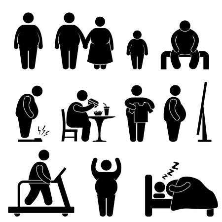 guy with walking stick: Fat Man Woman Kid Child Couple Obesity Overweight Illustration