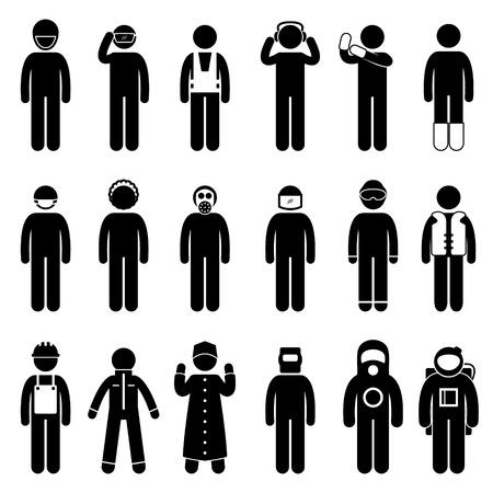 danger chimique: Travailleur de la construction de la s�curit� tenue de ville usure uniforme en tissu Illustration