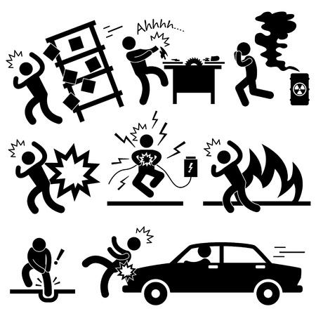 electric shock: Accidente de tráfico de peligro de explosión fuego electrocutado Vectores