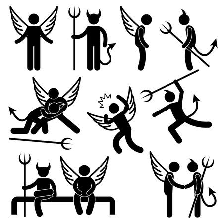 Diabeł Anioł Wróg Ikona Przyjaciel Symbol Piktogram Zaloguj się