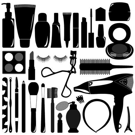 productos de belleza: Mujer Mujer Maquillaje Est�tica del producto objeto de la silueta Vectores