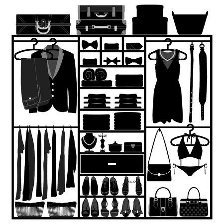 Closet Wardrobe Cupboard Cloth Accessories Man Woman Fashion Wear Silhouette Vector
