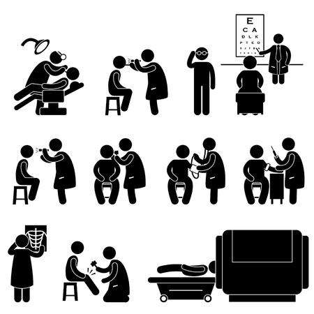 medico caricatura: Salud Cuerpo M�dico Check Up Prueba Examen Icono S�mbolo Pictograma sesi�n Vectores
